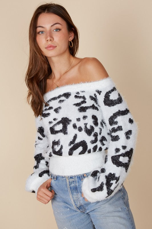 Lucy Leopard Fuzzy Sweater in White/Black