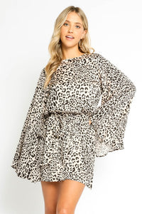Lolita Satin Leopard Bell Sleeve Dress