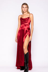 Caroline Cowlneck Satin Maxi Dress in Merlot