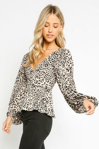 Lottie Leopard Balloon Sleeve Peplum Top