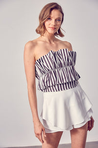 Reves Ruffle Striped Strapless Top in Black/White