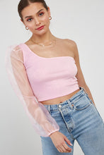 Claire One Shoulder Contrast Sleeve Crop Top in Bubblegum