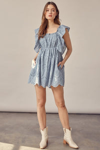 Eden Eyelet Ruffle Dress in Misty Blue