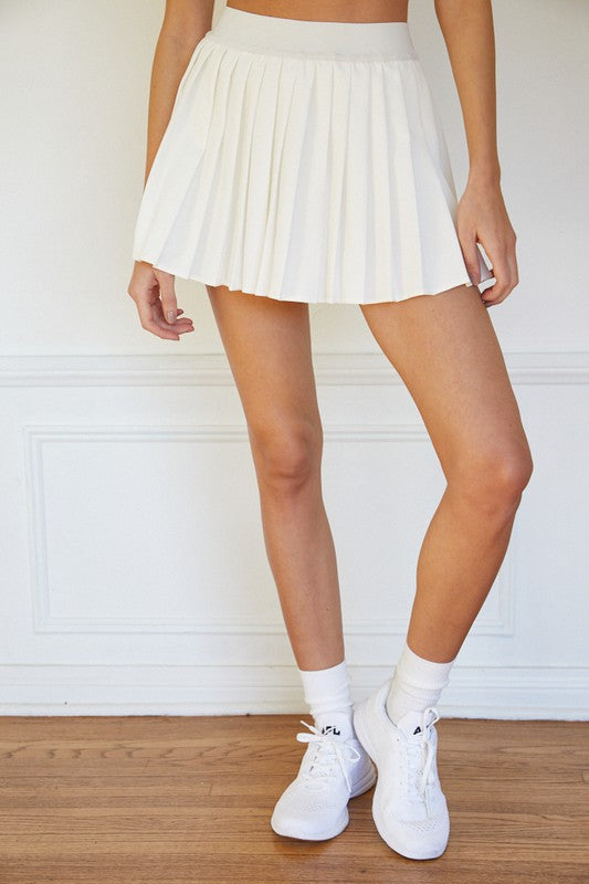 Saxon Pleated Tennis Skirt in White