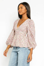 Lottie Floral Balloon Sleeve Peplum Top
