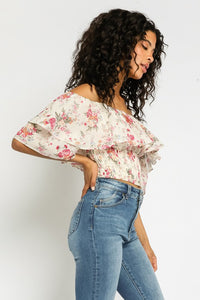 Samantha Off The Shoulder Smocked Floral Top