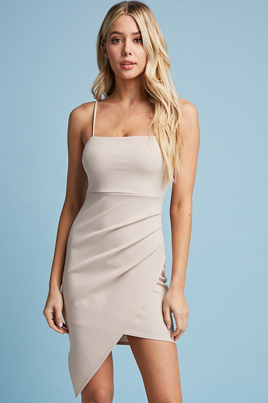 Ava Asymmetric Dress in Oatmeal