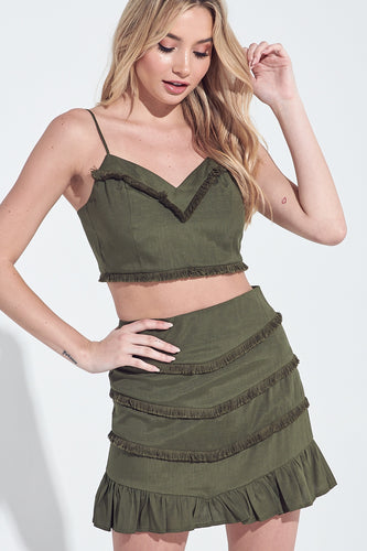 Syd Fringe Ruffle Trim Set in Olive