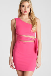 Liliana Side Tie Dress in Hot Pink