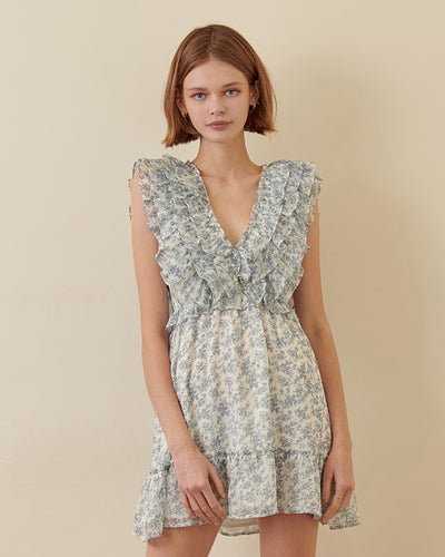 Darcy Blue Floral Ruffle Dress