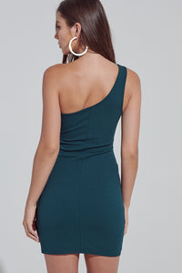 Holly Hunter Green One Shoulder Dress