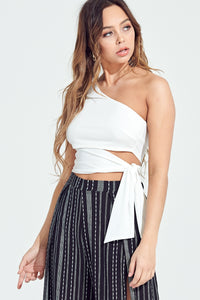 Liliana Side Tie Top in White