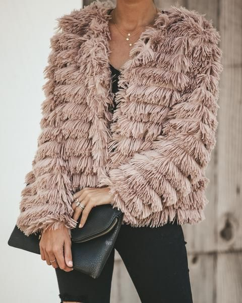 Janet Open Front Fur Jacket in Taupe