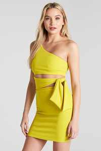 Liliana Side Tie Dress in Lime Yellow