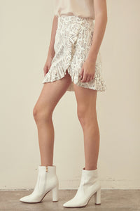 Sadie Snake Ruffled Leather Skirt