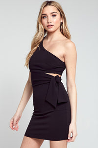 Liliana Side Tie Dress in Black