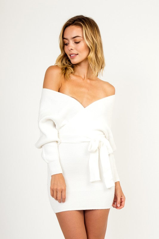 Danielle Tie Sweater Dress in Ivory