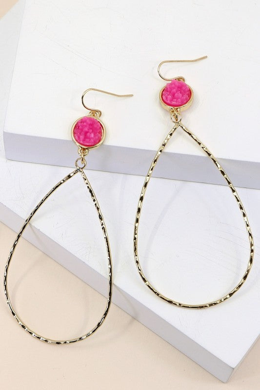 Kendra Hot Pink Druzy Hoops