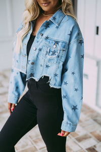 Stevie Distressed Star Jean Jacket