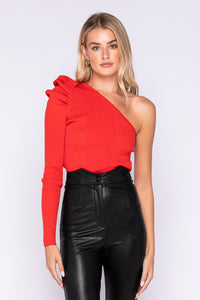 Paxton Puff Sleeve One Shoulder Sweater in Scarlet