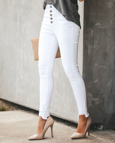 Taylor Button Fly White Skinnies