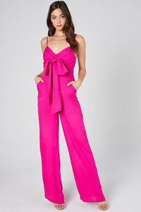 Joanna Hot Pink Bow Jumpsuit