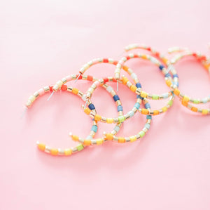 Rainbow Beaded Hoops | St. Armands Designs