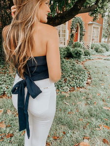 Bodie Bow Strapless Top in Navy