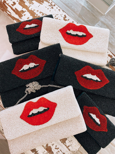 Beaded Lip Clutch