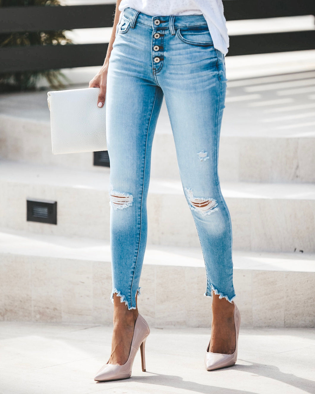 Molly Distressed High Rise Skinnies