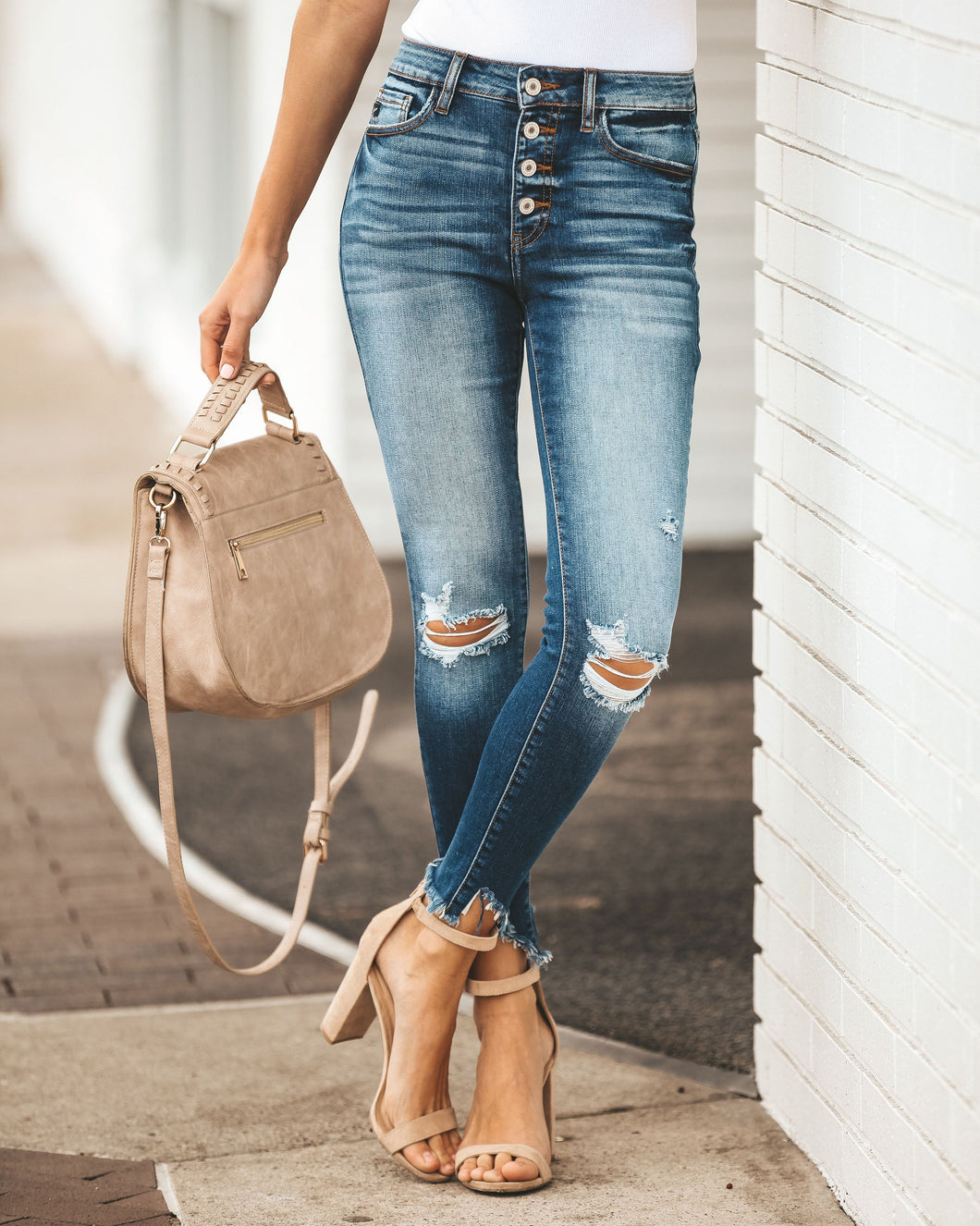 Gemma Distressed Button Fly Skinnies