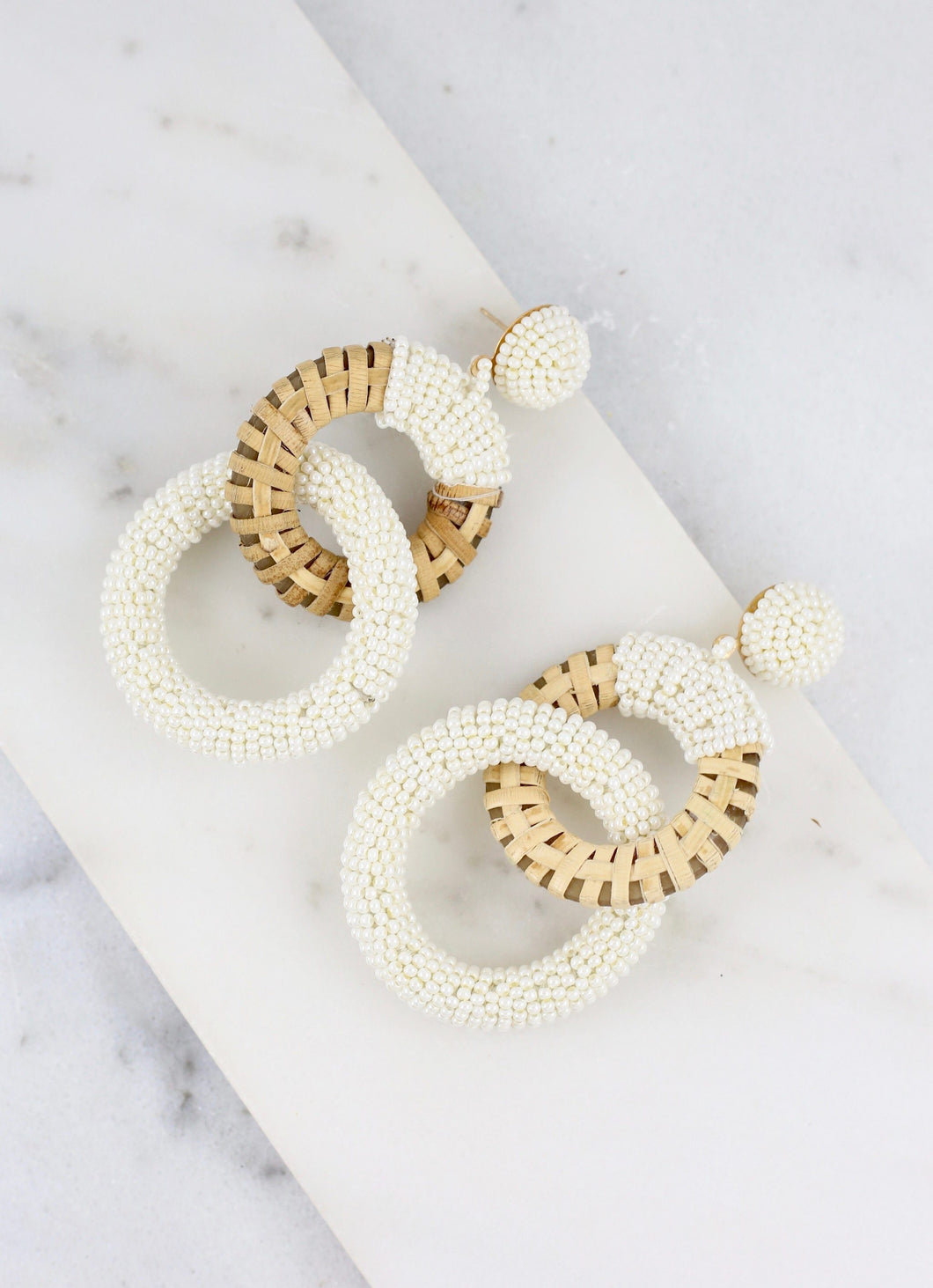 Daphne Double Hoop Beaded Earrings in White