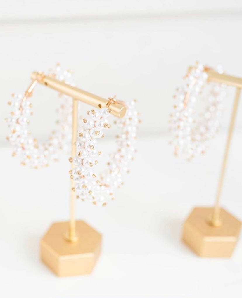 Pearl Cluster Hoops | St. Armands Designs