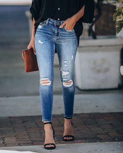 Dylan Mid Rise Distressed Skinnies