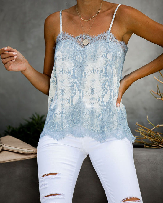Laney Lace Cami in Blue Snake