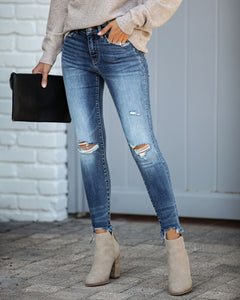 Chance Mid Rise Distressed Skinnies