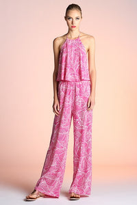 Lilly Palm Jumpsuit in Fuchsia