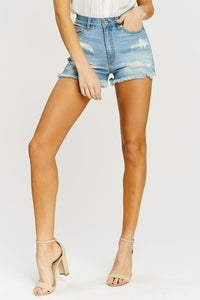 April Distressed High-Rise Shorts