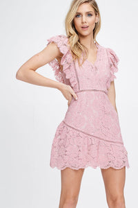 Cassie Ruffled Lace Dress in Pink