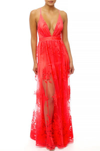 Tayci Floral Tulle Maxi Dress in Coral