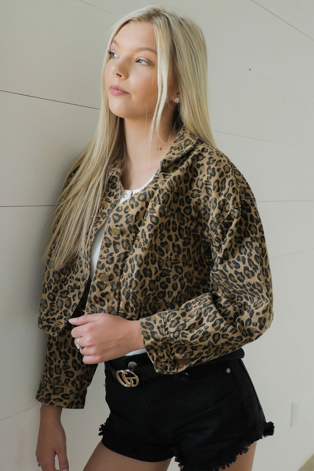 CJ Cropped Leopard Denim Jacket