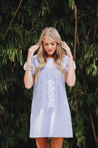 Essie Embroidered Dress in Baby Blue/White
