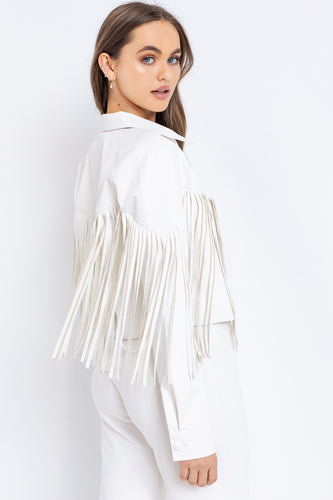 Florence Fringe White Leather Jacket
