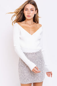 Shelby Sweater Bodysuit in White