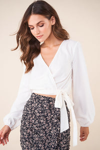 Whitt Tie Waist Wrap Top