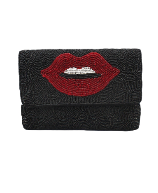 Beaded Mini Lip Clutch