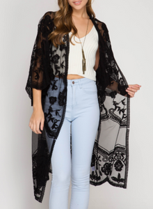 Heather Lace Kimono in Black