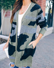 Char Pocketed Camo Cardigan