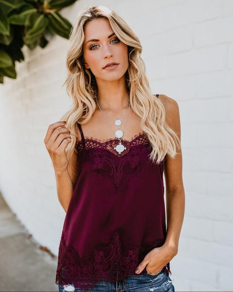 Laney Lace Cami in Burgundy