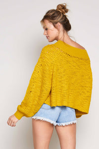 Georgia Off The Shoulder Sweater in Mustard
